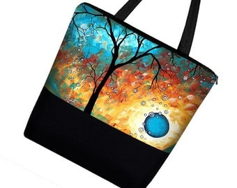MADART Large Tote Bag Purse in Auqa Burn / Muti Purpose Zippered Canvas Tote Bag with Pockets / Diaper Bag /  tree moon blue orange  MTO