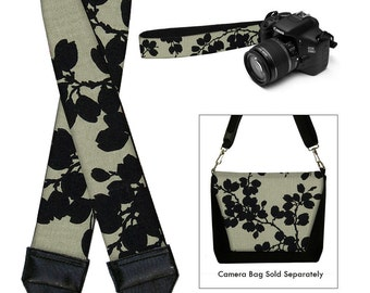 Dslr Camera Strap SLR Digital Camera Padded Strap Nikon Canon  Pods Black  Linen Floral RTS