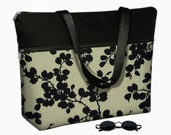 Laptop Tote Bag padded case fits up to 17 inch PC - Pods Black floral MTO