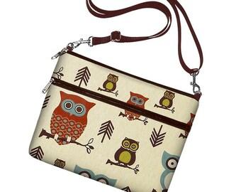 Cute Owl iPad Cover iPad Handbag  iPad Air 2 Case Womens iPad Bag with Strap,  Zipper Pocket, Brown Blue Rust RTS