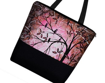 MADART Pink Tote Bag, Large Tote Bag Purse, Girl Diaper Bag, Zipper Canvas Tote,  Pink Diaper Bag, Cherry Blossom Birds, black  RTS
