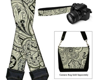 Dslr Camera Strap SLR Digital Camera Padded Strap Nikon Canon - Vintage Paisley gray black MTO