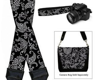 Dslr Camera Strap SLR Digital Camera Padded Strap Nikon Canon - Pretty Paisley black white RTS