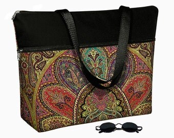 "17 inch Laptop Bag with Straps / Laptop Tote Bag / 17"" Laptop Case / Padded / Zippered Top  - Bohemian Paisley purple teal red RTS"