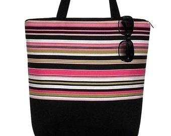 Large Tote Bag with Pockets Canvas Tote Bag Diaper Bag Teacher Gift Zipper Closure  Pink  Black White  Beach Stripe RTS