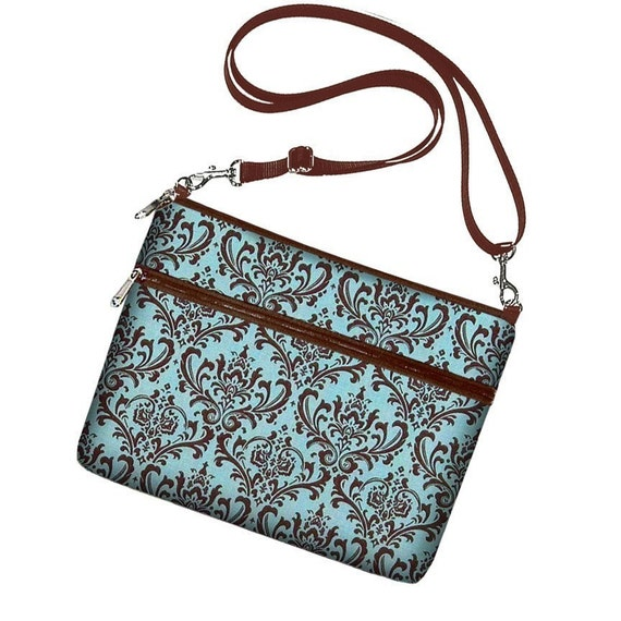 iPad Case Sleeve Bag Cover with adjustable shoulder strap Ipad 3 Ipad 2 Ipad 1 - Madison Damask French Blue - In Stock