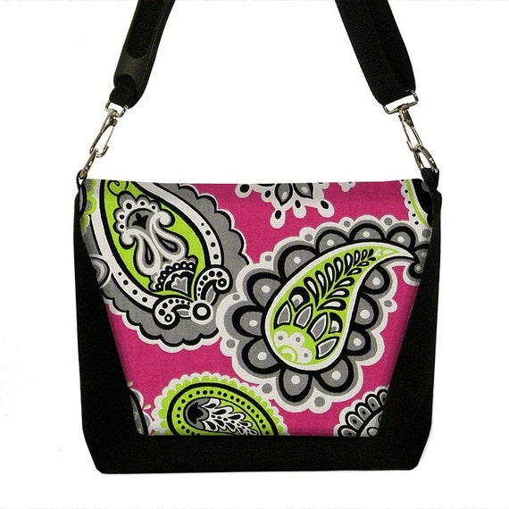 Digital SLR Camera Bag and Lens Case padded DSLR Messenger - Belinda Mod Paisley Pink - INSTOCK
