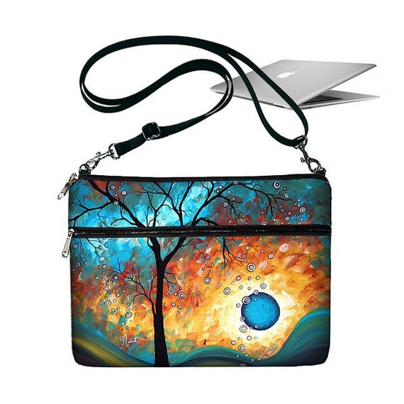 11 inch MacBook Air Sleeve Bag Case Crossbody Shoulder Bag Zipper Padded  - Aqua Burn MADART (MTO)