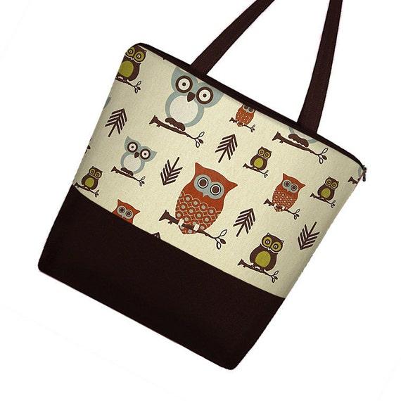 Large Tote Bag Purse / Diaper Bag / Cute Cotton Tote Bag / Zippered Canvas Tote / Teacher or Work Tote Cute Owl (RTS)