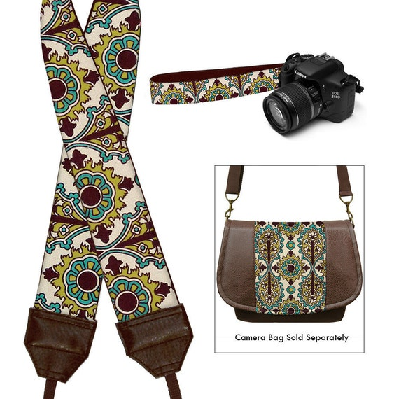 DSLR Camera Strap SLR Digital Camera Padded Strap Nikon Canon -  Medallion Turquoise Brown Chartreuse - In Stock