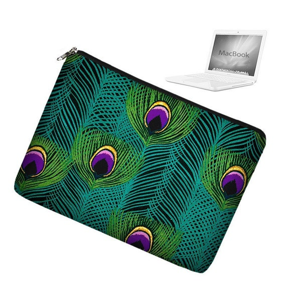 CLEARANCE 17 inch Laptop Sleeve MacBook Pro 17 inch Laptop Bag MacBook Case - Peacock Feathers RTS