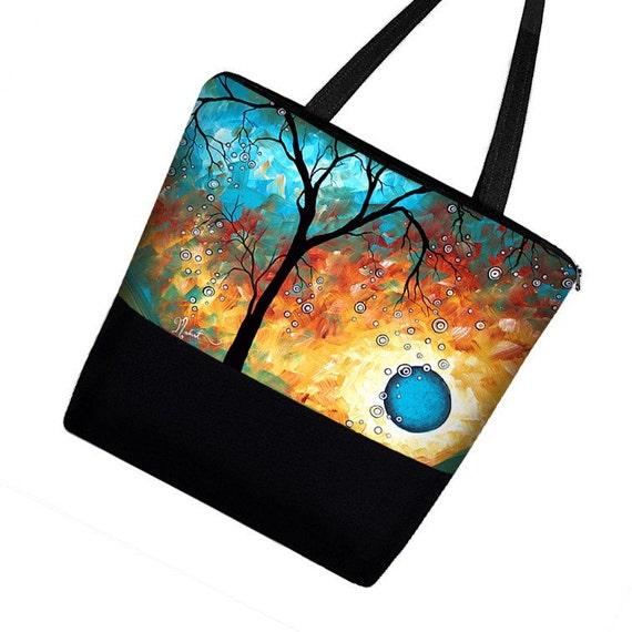 MADART Large Tote Bag Purse in Auqa Burn / Muti Purpose Zippered Canvas Tote Bag with Pockets / Diaper Bag /  tree moon blue orange  RTS