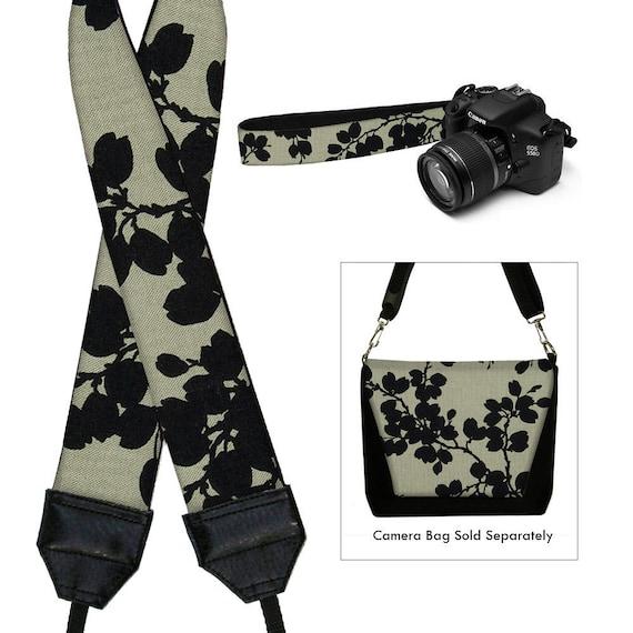 Dslr Camera Strap SLR Digital Camera Padded Strap Nikon Canon  Pods Black  Linen Floral MTO