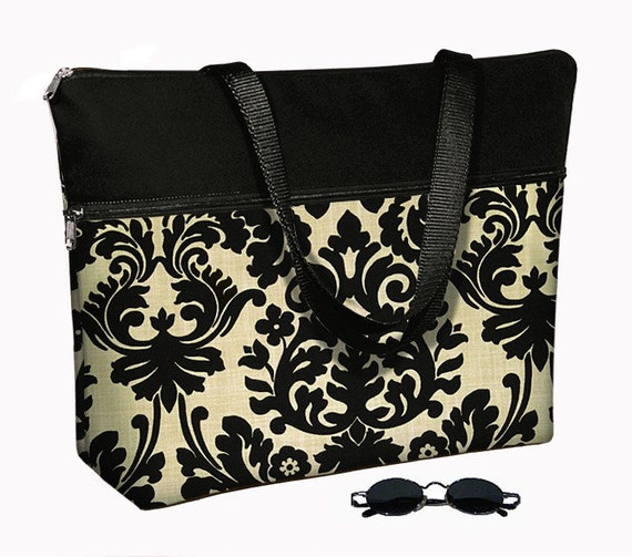 Laptop Tote Bag padded case fits up to 17 inch PC - Essence Damask (MTO)