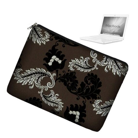 CLEARANCE Laptop Sleeve 13 inch MacBook Case Apple MacBook Pro 13 Case zipper padded - Viveinne Damask  black brown silver (RTS)