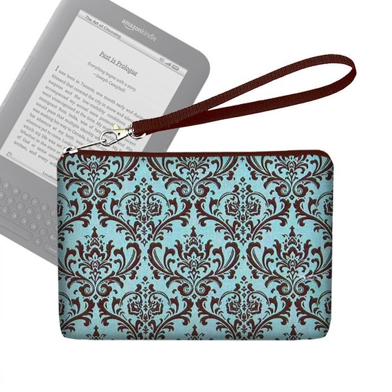 Kindle Case / Kindle 3 Cover / Kindle Fire Case / Nook Cover / Kobo Case / Padded eReader Case  - Madison Damask Blue Brown - In Stock