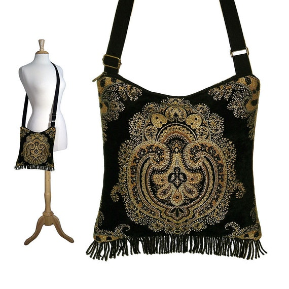 Bohemian Purse Gypsy Fringe Bag Slouch Hobo Bag Hippie Purse Shoulder Bag Zipper -  Medici chenille tapestry - In Stock