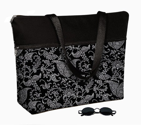 Laptop Tote Bag padded case fits up to 17 inch PC - Pretty Paisley Black MTO