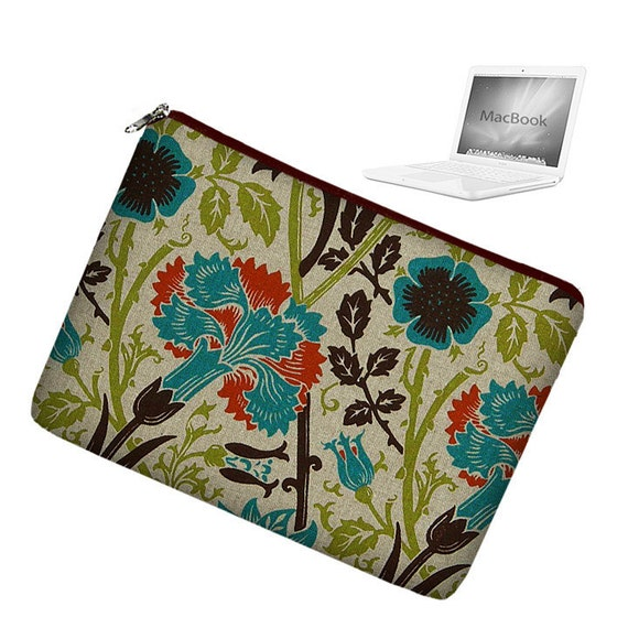 Laptop Sleeve 13 inch MacBook Case Apple MacBook Pro 13 Case zipper padded - Art Nouveau Floral - In Stock