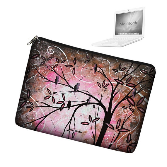 CLEARANCE Laptop Sleeve 13 inch MacBook Laptop Bag Apple MacBook Pro 13 Laptop Case zipper padded - MADART Pink Cherry Blossom Birds (RTS)
