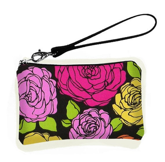 LAST ONE - Wristlet Bridesmaid Wristlet Purse Wallet Small Zipper Evening Purse Cell Phone Droid X Case Padded sale - Bloomin Roses (RTS)