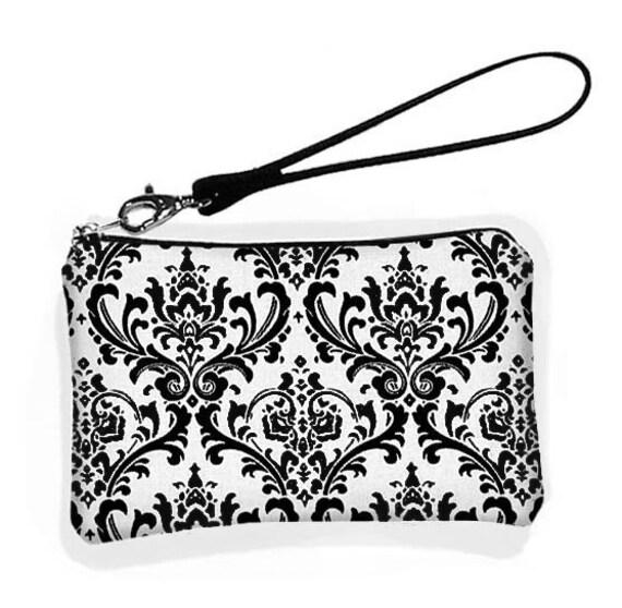 SALE Wristlet Bridesmaid Wristlet Purse Wallet Small Zipper  Purse  Droid X Case Padded - Madison Damask Black White