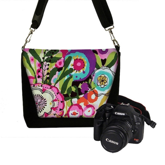 Digital SLR Camera Bag DSLR Camera Bag Purse Womens Camera Bag Case  - DELUXE Grunge Art Floral 3 - In Stock