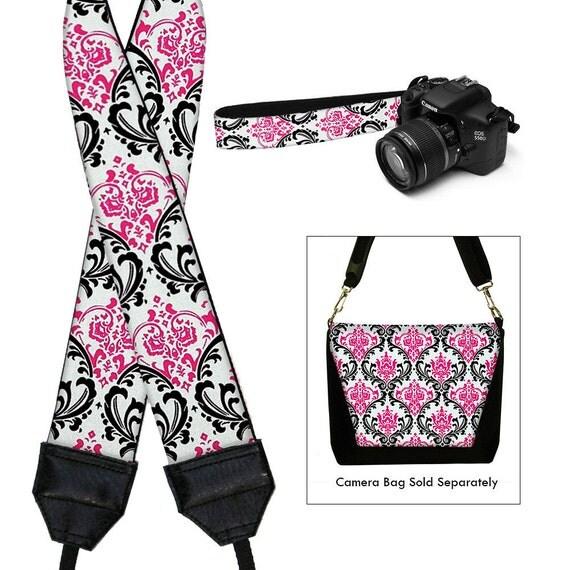 SALE Camera Neck Strap Dslr Camera Strap Slr Padded Camera Strap Nikon Canon - Madison Damask Pink Black White RTS