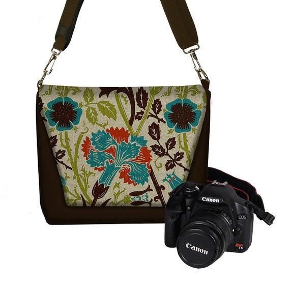 CLEARANCE Digital SLR Camera Bag Dslr Camera Bag Purse Womens Camera Bag Case Zipper Padded  Floral brown teal orange (RTS)