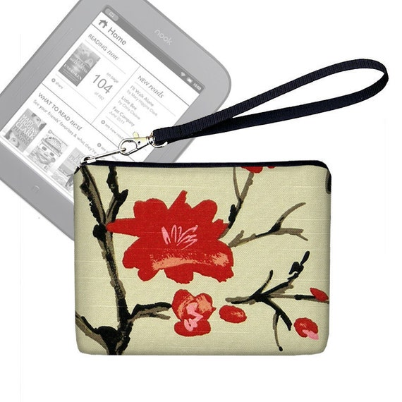 CLEARANCE Kindle Cover, Floral Kindle Paperwhite Cover, Kindle 4 Case, Kindle Touch Cover, Wristlet Clutch Purse, Cherry Blossom red  (RTS)