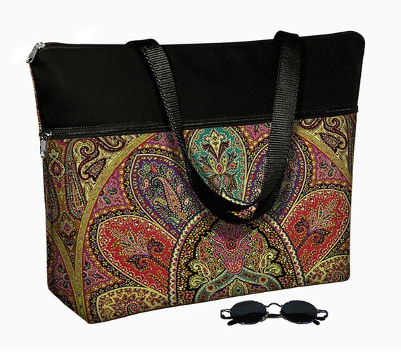 "17 inch Laptop Bag with Straps / Laptop Tote Bag / 17"" Laptop Case / Padded / Zippered Top  - Bohemian Paisley purple teal red MTO"