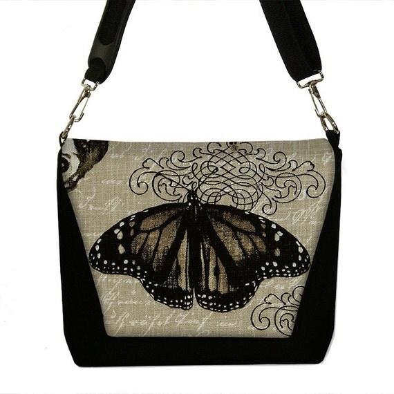 SALE Digital SLR Camera Bag Dslr Camera Bag Purse Womens Camera Bag Case - Vintage Butterfly black neutral (RTS)