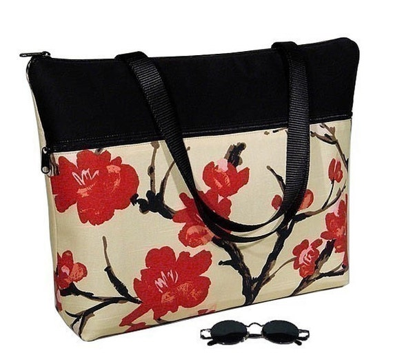Padded LAPTOP TOTE BAG in Asian Cherry Blossom -- ONE-SIZE-FITS-ALL -- incl 17 inch widescreens