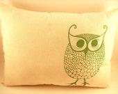 Green Owl Print Pillow