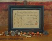 Primitive Golden Harvest Sampler- Autumn Cross Stitch E Pattern PDF