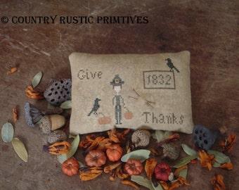 Primitive Give Thanks Pinkeep Cross Stitch E Pattern PDF