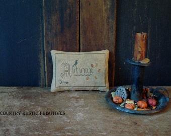 Primitive Autumn Leaves Pinkeep Sampler-Stitchery Cross Stitch E Pattern PDF