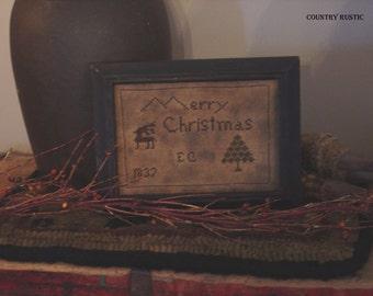 Primitive Merry Christmas 1837 Sampler Cross Stitch E-Pattern PDF