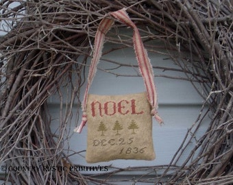 Primitive Noel Sampler Cupboard Hanger Cross Stitch E Pattern PDF