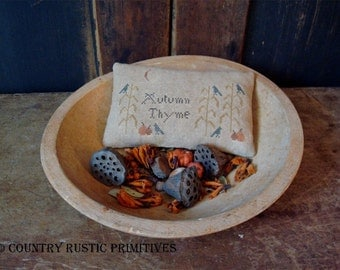Primitive Autumn Thyme Pinkeep Cross Stitch E Pattern PDF