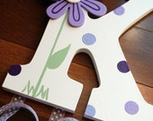 Purple Daisy Wooden Wall Letter Hair Barrette, Clip, Clippie, Bow Holder