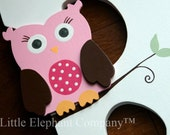 Perky Pink Owl Wooden Wall Letter Hair Barrette, Clip, Clippie, Bow Holder