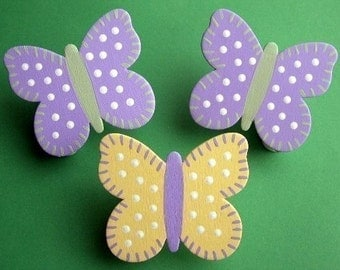 set/3 Handpainted Zoe Butterfly Quilt Clips - coordinates with baby bedding sets