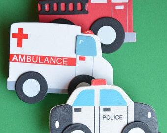 Rescue Vehicles Quilt Clips - Set/3