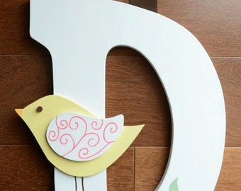 READY TO SHIP D - Wooden Wall Letter Hair Barrette, Clip, Clippie, Bow Holder with Bird