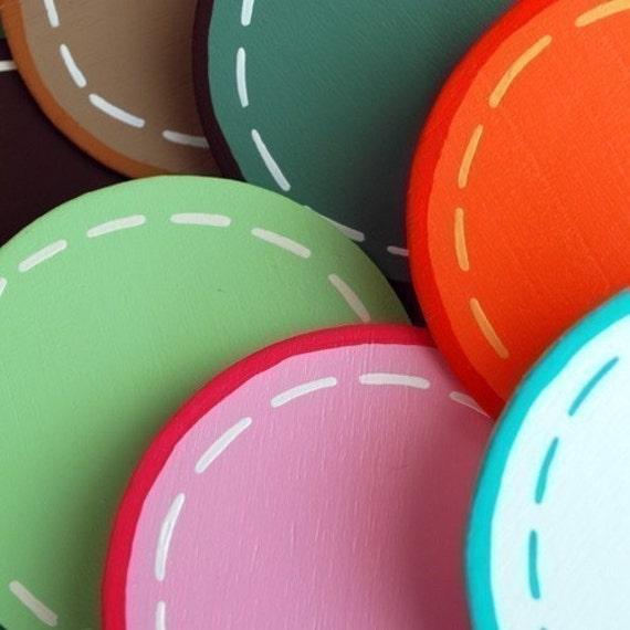 set/3 Custom Polka Dot Quilt Clips - handpainted