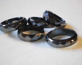 Sz 9, Size 9 ~ FaCeTeD Hematite Band Rings ~