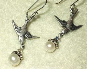 PEACE Silver Swallowtail earrings