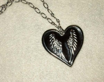 my dark valentine . black heart with wings necklace