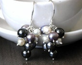 Lilac pearl cluster earrings